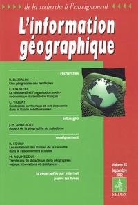 Collectif - L'information géographique Volume 65 Septembre 2002.