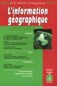 Collectif - L'information géographique Volume 66 N° 4 Décembre 2002.