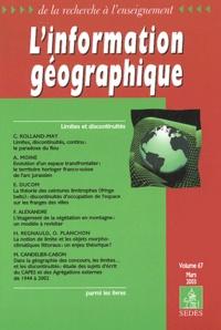 Lemememonde.fr L'information géographique Volume 67 N° 1 Mars 2003 : Limites et discontinuités Image