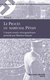 Collectif - Le Procès du maréchal Pétain, tome 1 - Compte-rendu sténographique.