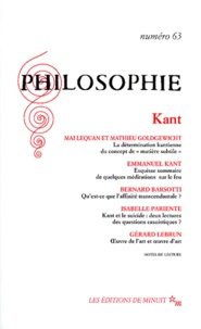 Collectif - PHILOSOPHIE N° 63 : KANT.