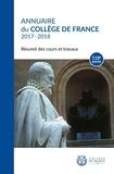 Collège de France - Annuaire du Collège de France 2017-2018 - Résumé des cours et travaux.