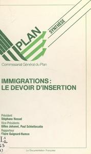 Commissariat Général du Plan et C. Bruschi - Immigrations : le devoir d'insertion - Rapport du Groupe de Travail Immigration, novembre 1987 - Synthèse.