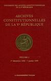 Commission des archives - Archives constitutionnelles de la Ve République - Volume 2, 1er décembre 1958 - 7 janvier 1959.