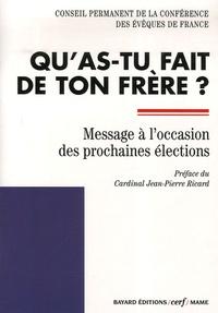 Qu'as-tu fait de ton frère ?- Message à l'occasion des prochaines élections -  Conférence évêques de France |