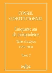Conseil constitutionnel - Cinquante ans de jurisprudence - Tome 2 Tables d'analyses 1959-2008.