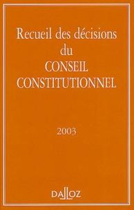 Conseil constitutionnel - Recueil des décisions du Conseil constitutionnel.