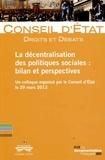 Conseil d'Etat - La décentralisation des politiques sociales : bilan et perspectives - Un colloque organisé par la Conseil d'Etat le 29 mars 2013.
