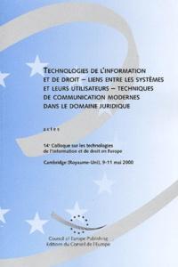 Histoiresdenlire.be Technologies de l'information et de droit - liens entre les systèmes et leur utilisateurs - techniques de communication modernes dans le domaines juridique. Actes du 14ème Colloque, Cambridge (Royaume-Uni), 9-11 mai 2000 Image