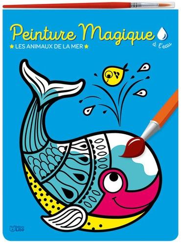Peinture magique à l'eau. Les animaux de la mer, avec un pinceau
