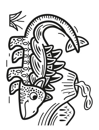 Peinture magique à l'eau. Les dinosaures, avec un pinceau