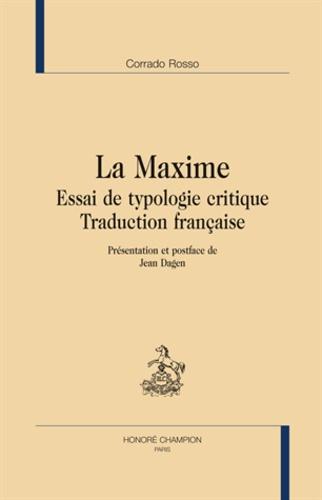 Corrado Rosso - La Maxime - Essai de typologie critique.