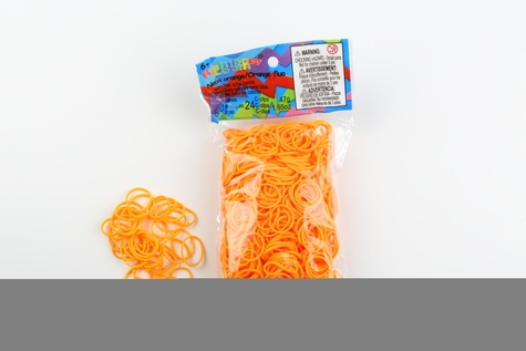 CREATIVE IMPORT - Rainbow Loom recharge élastiques orange fluo