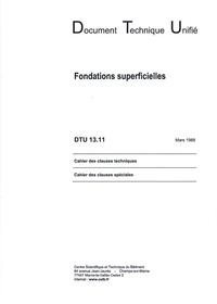 CSTB - DTU 13.11 Fondations superficielles.