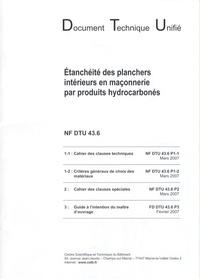 CSTB - Etanchéité des planchers intérieurs en maçonnerie par produits hydrocarbonés - NF DTU 43.6.