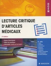 Damien Jolly et Joël Ankri - Lecture critique articles médicaux.