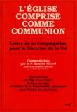 Damien Sicard - L'EGLISE COMPRISE COMME COMMUNION. - Lettre de la Congrégation pour la doctrine de la foi.