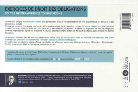 Exercices de droit des obligations. Tout le programme en 25 consultations