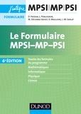 Daniel Fredon et Lionel Porcheron - Le formulaire MPSI-MP-PSI.