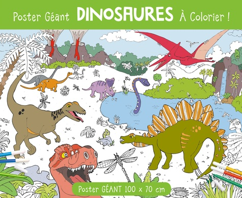 Poster Geant Dinosaures A Colorier