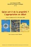 Daniel Tomasin - Qu'en est-il de la propriété ? L'appropriation en débat.