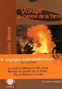 Jules Verne - 3  voyages extraordinaires - Le Tour du monde en 80 jours ; Voyage au centre de la Terre ; De la Terre à la Lune. 3 CD audio MP3