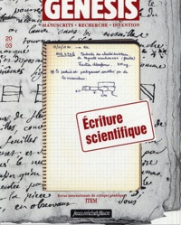 Anouk Barberousse et Laurent Pinon - Genesis N° 20/3 : Ecriture scientifique.