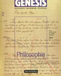 Paolo D'Iorio et Olivier Ponton - Genesis N° 22 : Philosophie.