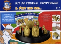 J-C Gaudin et J Barbaud - Kit de fouille égyptienne Il était une fois... - Avec bloc de plâtre avec 8 échantillons, brosse à poussière, outils à creuser, présentoir, lunettes de protection, loupe x3, x6.
