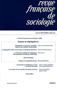 Jean Stoetzel - Revue française de sociologie N° 50-3, Septembre 2 : Espace et ségrégations.