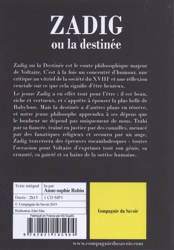 Zadig ou la destinée  avec 1 CD audio MP3