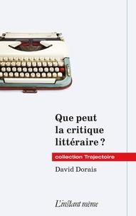 David Dorais - Que peut la critique littéraire ?.