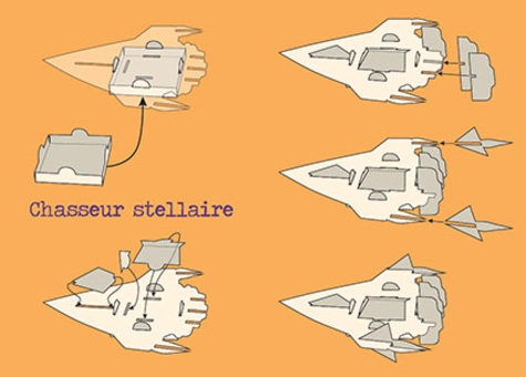 Vaisseaux spatiaux. Avec 1 livre et 8 modèles