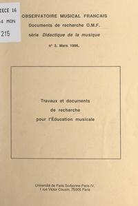 Delphine Beaubat-Perignon et Sévérine Dumas - Travaux et documents de recherche pour l'éducation musicale.