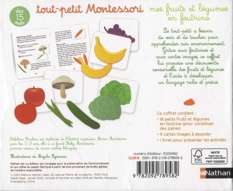 Coffret mes fruits et légumes en feutrine. Avec 1 livret de présentation, 18 feutrines et 9 cartes à associer
