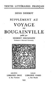 Denis Diderot et Gilbert Chinard - Supplément au Voyage de Bougainville.