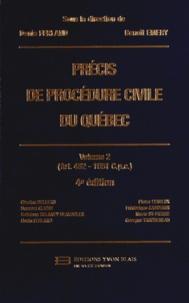 Denis Ferland et Benoît Emery - Précis de procédure civile du Québec - Volume 2 (Art. 482 - 1051 Cpc).