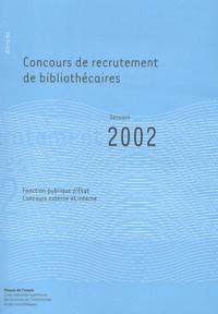 Histoiresdenlire.be Concours de recrutement de bibliothécaires - Annales session 2002 Image