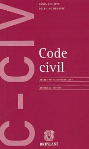 Denis Philippe et Delphine Dehasse - Code civil - Textes en vigueur au 15 octobre 2003.