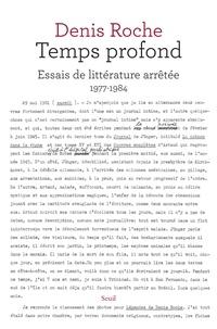 Denis Roche - Temps profond - Essais de littérature arrêtée (1977-1984).