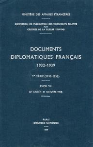 Des affaires étrangères Ministère - Documents diplomatiques français - 1934 – Tome II (27 juillet – 31 octobre).
