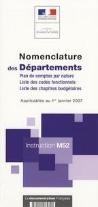 DGCP - Nomenclature des Départements - Instruction M52.