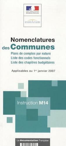 DGCP et  Ministère de l'Economie - Nomenclatures des Communes - Instruction M14.