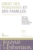 Didier Carré et Nicole Gallus - Droit des personnes et des familles - Chroniques de jurisprudence 2011-2016.