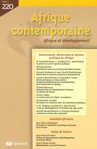 Mireille Razafindrakoto et François Roubaud - Afrique contemporaine N° 220/2006-4 : Gouvernance, démocratie et opinion publique en Afrique.
