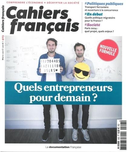 La Documentation Française - Cahiers français N° 403 : Quels entrepreneurs pour demain?.
