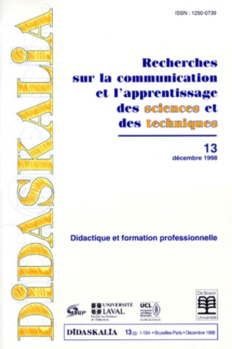 INRP - Didaskalia N° 13, Décembre 1998 : Didactique et formation professionnelle.