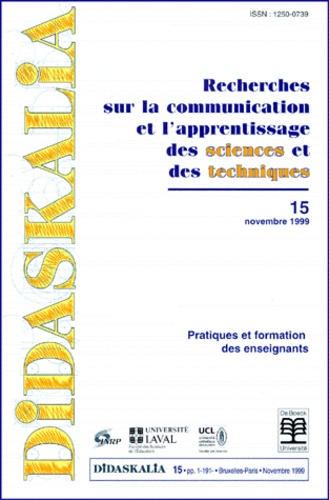 INRP - Didaskalia N° 15, novembre 1999 : Pratiques et formations des enseignants.