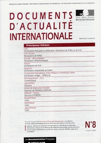 Ministère Affaires Etrangères - Documents d'actualité internationale N° 8, 15 avril 2004 : .