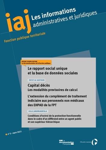 CIG petite couronne - Les informations administratives et juridiques N° 3, mars 2021 : Le rapport social unique et la base de données sociales.